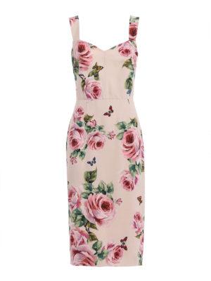 Dolce & Gabbana: cocktail dresses - Rose print cady sheath dress