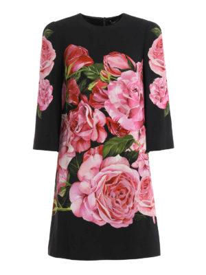 Dolce & Gabbana: cocktail dresses - Rose print crepe dress