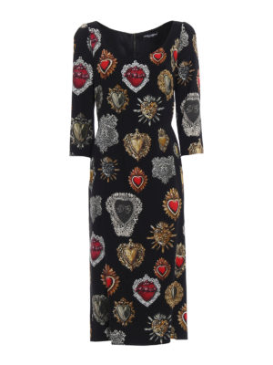 Dolce & Gabbana: cocktail dresses - Sacred heart print crepe dress