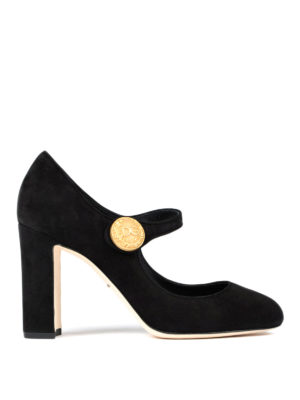 Dolce & Gabbana: court shoes - Gold-tone button suede Mary Jane