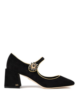 Dolce & Gabbana: court shoes - Jewel button Mary Jane suede pumps