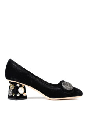 Dolce & Gabbana: court shoes - Jeweled heel velvet pumps
