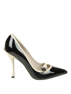 DOLCE & GABBANA: scarpe décolleté - Décolleté Lori in vernice profili a contrasto