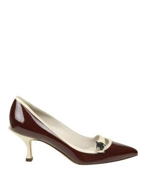 DOLCE & GABBANA: scarpe décolleté - Décolleté Lori in vernice con patch cane