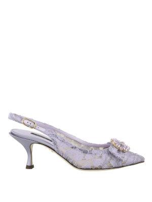 DOLCE & GABBANA: scarpe décolleté - Décolleté slingback gioiello Lori in pizzo