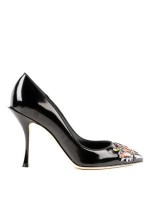 DOLCE & GABBANA: scarpe décolleté - Décolleté Lori in pelle lucida con patch