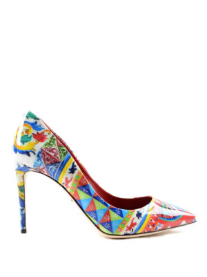 Dolce & Gabbana: court shoes - Mambo print patent pointy pumps