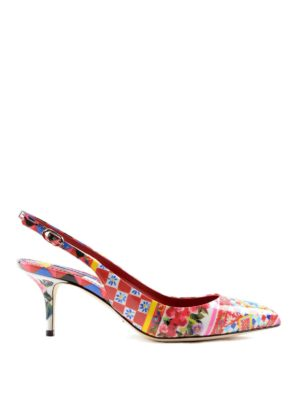 Dolce & Gabbana: court shoes - Mambo print patent slingback pumps