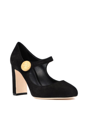 Dolce & Gabbana: court shoes online - Gold-tone button suede Mary Jane