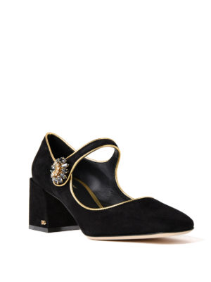 Dolce & Gabbana: court shoes online - Jewel button Mary Jane suede pumps