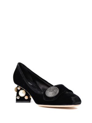 Dolce & Gabbana: court shoes online - Jeweled heel velvet pumps