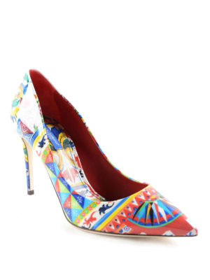 Dolce & Gabbana: court shoes online - Mambo print patent pointy pumps