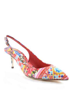 Dolce & Gabbana: court shoes online - Mambo print patent slingback pumps