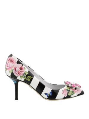 DOLCE & GABBANA: scarpe décolleté - Décolleté con stampa righe e rose