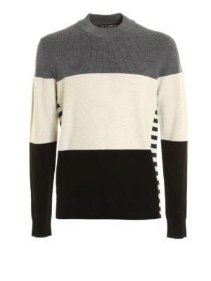 Dolce & Gabbana: crew necks - Colour block virgin wool crewneck