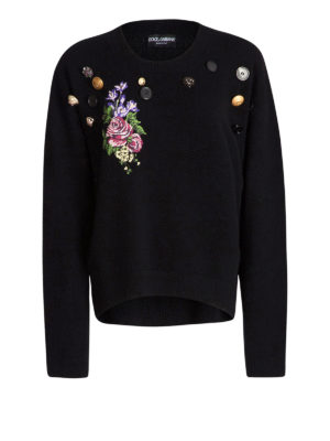 Dolce & Gabbana: crew necks - Floral embroidery cashmere sweater