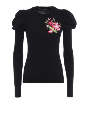 Dolce & Gabbana: crew necks - Floral embroidery wool sweater