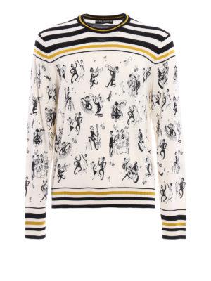 Dolce & Gabbana: crew necks - Jazz print cashmere sweater