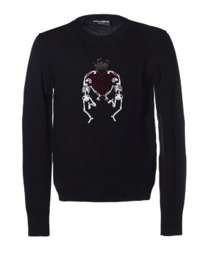 Dolce & Gabbana: crew necks - Jewel embroidery crew neck sweater