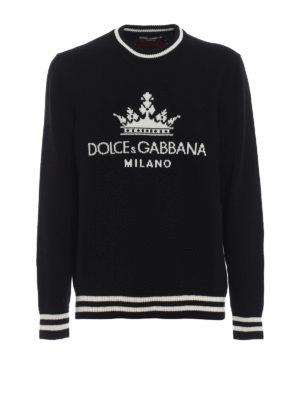 DOLCE & GABBANA: maglia collo rotondo - Pullover in cashmere con logo intarsiato