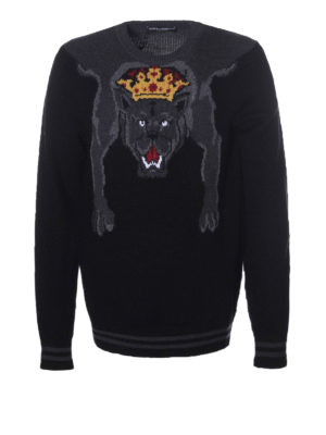 Dolce & Gabbana: crew necks - Maxi intarsia detailed wool sweater
