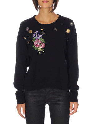 Dolce & Gabbana: crew necks online - Floral embroidery cashmere sweater