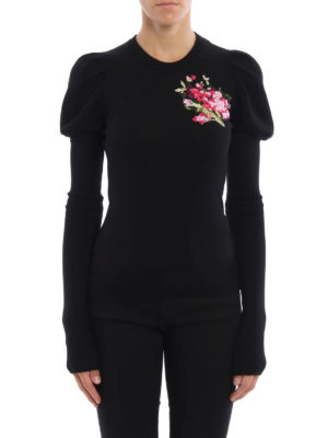 Dolce & Gabbana: crew necks online - Floral embroidery wool sweater