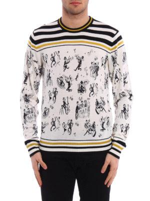 Dolce & Gabbana: crew necks online - Jazz print cashmere sweater