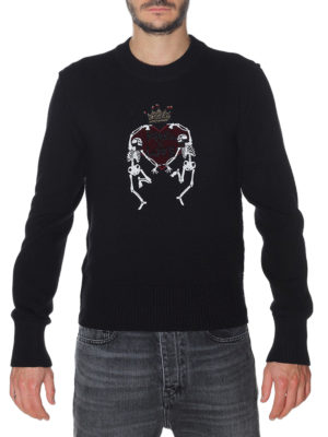 Dolce & Gabbana: crew necks online - Jewel embroidery crew neck sweater