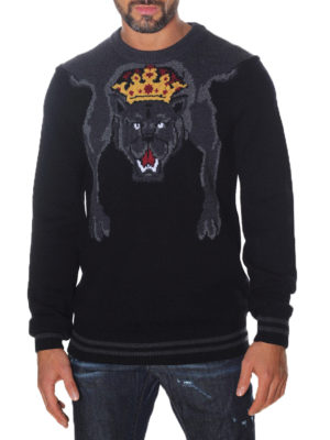 Dolce & Gabbana: crew necks online - Maxi intarsia detailed wool sweater