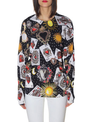 Dolce & Gabbana: crew necks online - Printed silk crew neck sweater