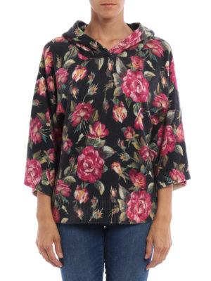 Dolce & Gabbana: crew necks online - Rose print cashmere hoodie