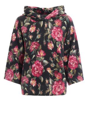 Dolce & Gabbana: crew necks - Rose print cashmere hoodie
