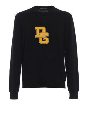 DOLCE & GABBANA: maglia collo rotondo - Pullover in lana con patch DG in spugna