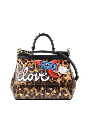 Dolce & Gabbana: cross body bags - Animal print Sicily S with patches