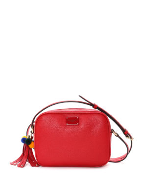 Dolce & Gabbana: cross body bags - Glam pompon detailed leather bag