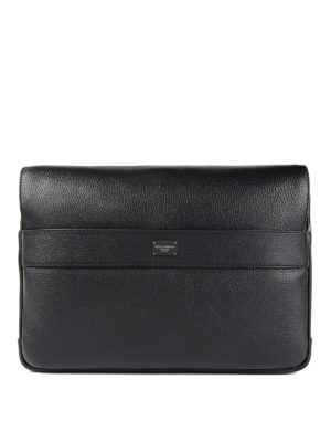 Dolce & Gabbana: cross body bags - Grained leather messenger bag