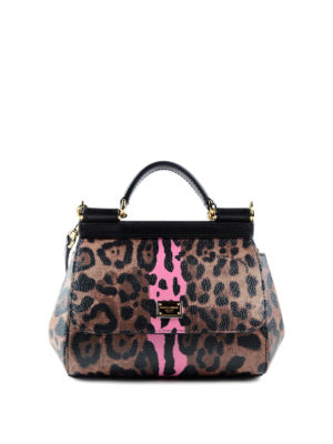 Dolce & Gabbana: cross body bags - Leo print mini Sicily crossbody