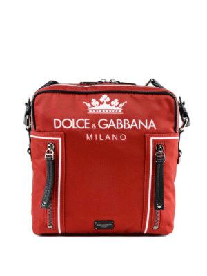 DOLCE & GABBANA: borse a tracolla - Borsa a tracolla con stampa logo in nylon
