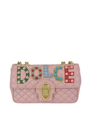 Dolce & Gabbana: cross body bags - Lucia pink leather embellished bag