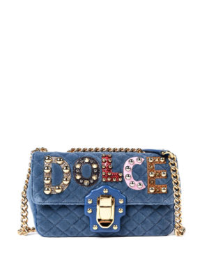 Dolce & Gabbana: cross body bags - Lucia quilted velvet bag