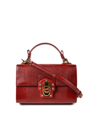 Dolce & Gabbana: cross body bags - Lucia red leather cross body bag