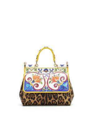 Dolce & Gabbana: cross body bags - Maiolica and Leo print Sicily S bag