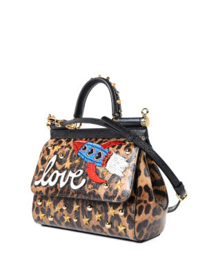 Dolce & Gabbana: cross body bags online - Animal print Sicily S with patches