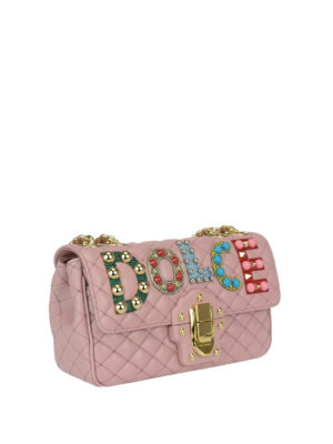 Dolce & Gabbana: cross body bags online - Lucia pink leather embellished bag