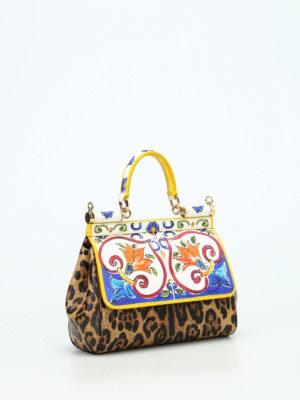 Dolce & Gabbana: cross body bags online - Maiolica and Leo print Sicily S bag