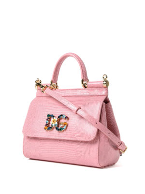 Dolce & Gabbana: cross body bags online - Sicily iguana print pink small bag