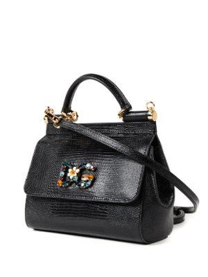 Dolce & Gabbana: cross body bags online - Sicily iguana print small handbag