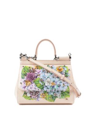 Dolce & Gabbana: cross body bags - Sicily hydrangea print small bag