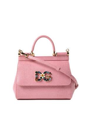 Dolce & Gabbana: cross body bags - Sicily iguana print pink small bag